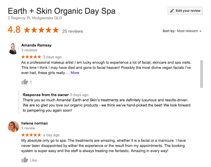 Earth and Skin Google Reviews