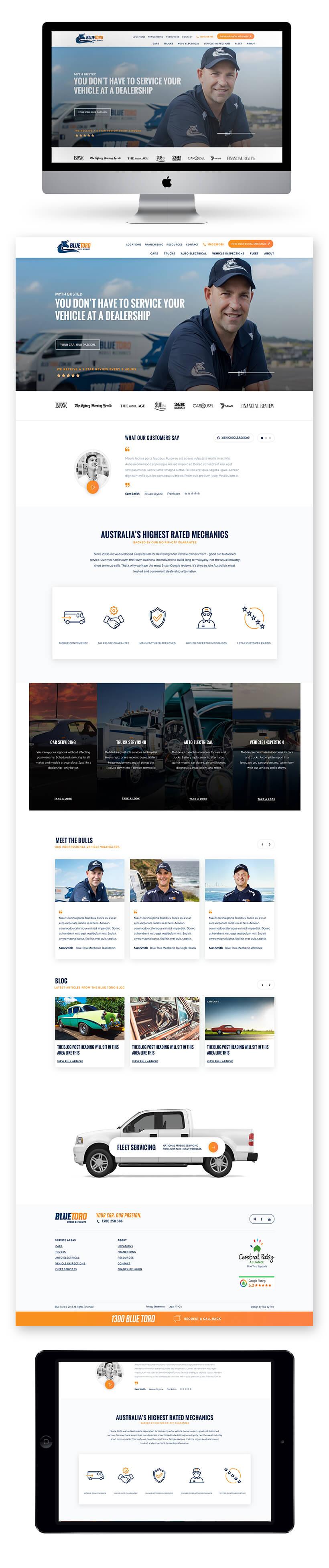 Blue Toro Mobile Mechanics Site